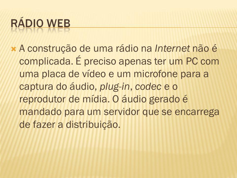 A construção de uma rádio na Internet não é complicada. É preciso apenas ter um PC com uma placa de vídeo e um microfone para a captura do áudio, plug