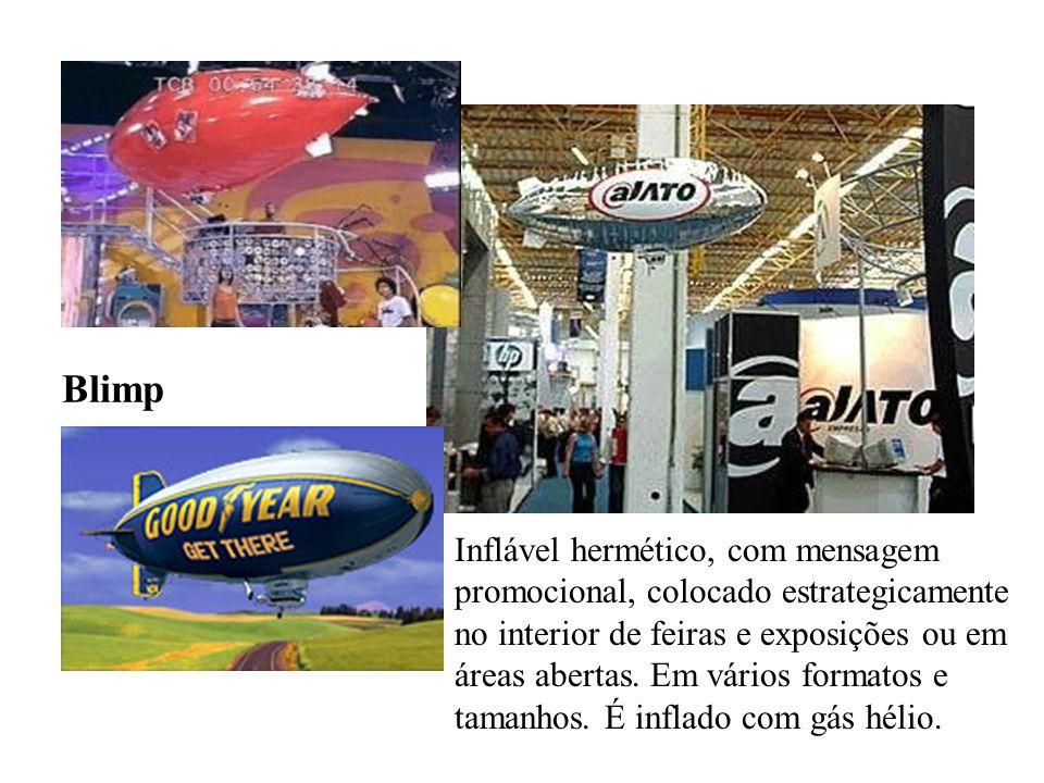 Blimp Inflável hermético, com mensagem promocional, colocado estrategicamente no interior de feiras e exposições ou em áreas abertas. Em vários format