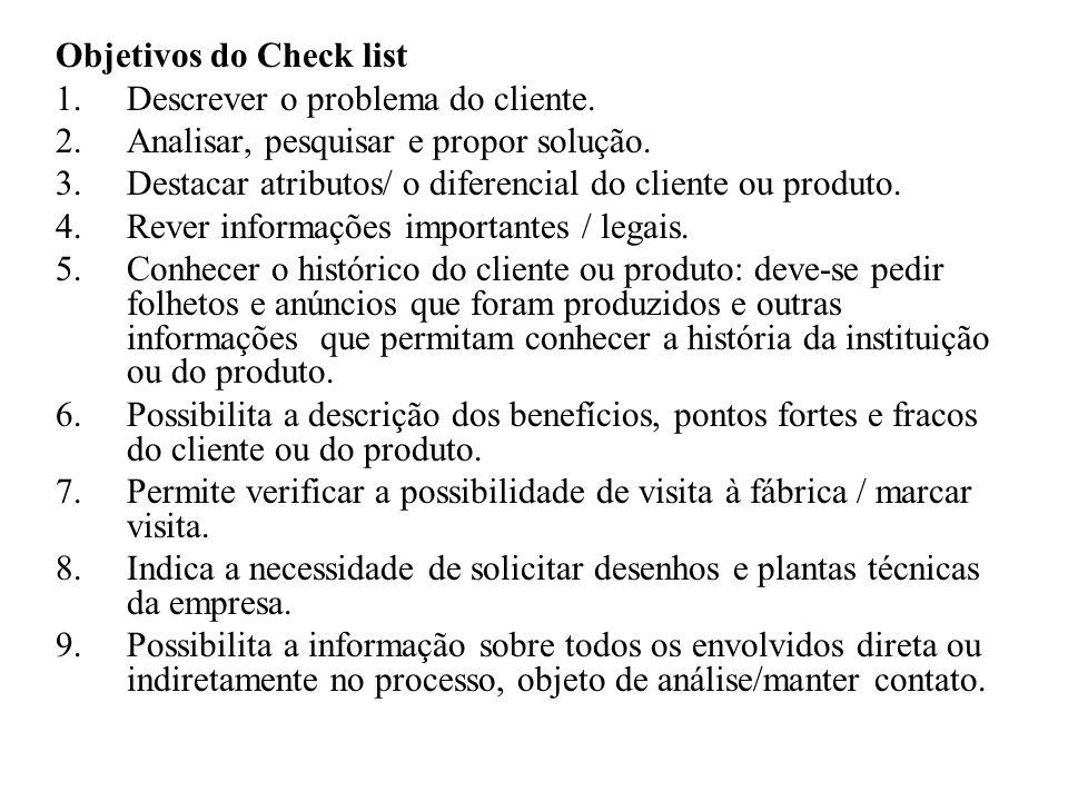 Objetivos do Check list 1.Descrever o problema do cliente. 2.Analisar, pesquisar e propor solução. 3.Destacar atributos/ o diferencial do cliente ou p