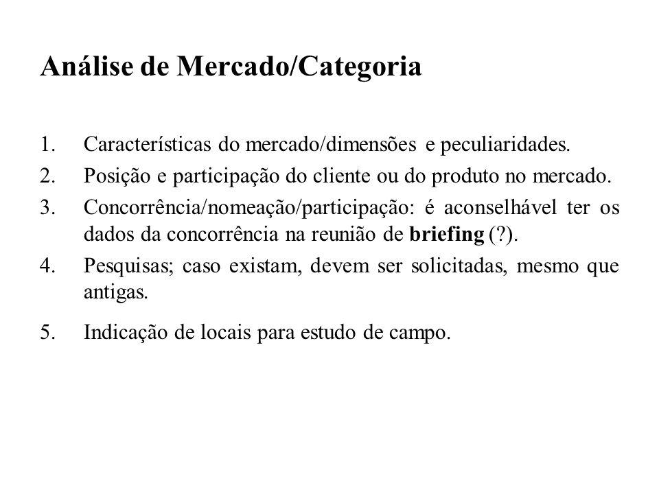 Análise de Mercado/Categoria 1.Características do mercado/dimensões e peculiaridades. 2.Posição e participação do cliente ou do produto no mercado. 3.