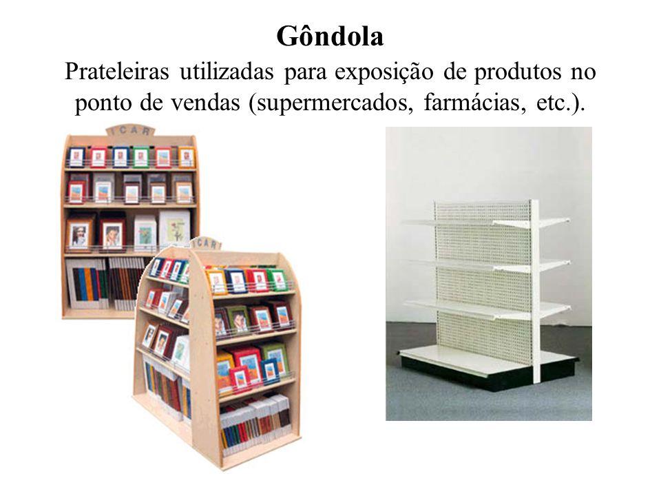Gôndola Prateleiras utilizadas para exposição de produtos no ponto de vendas (supermercados, farmácias, etc.).