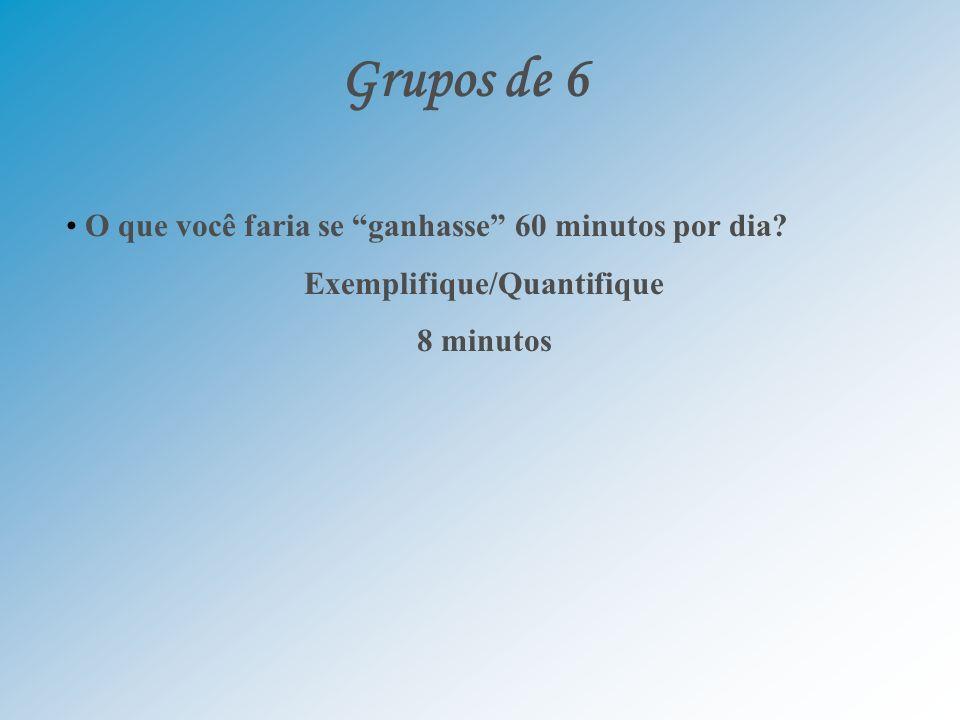 Grupos de 6 O que você faria se ganhasse 60 minutos por dia? Exemplifique/Quantifique 8 minutos