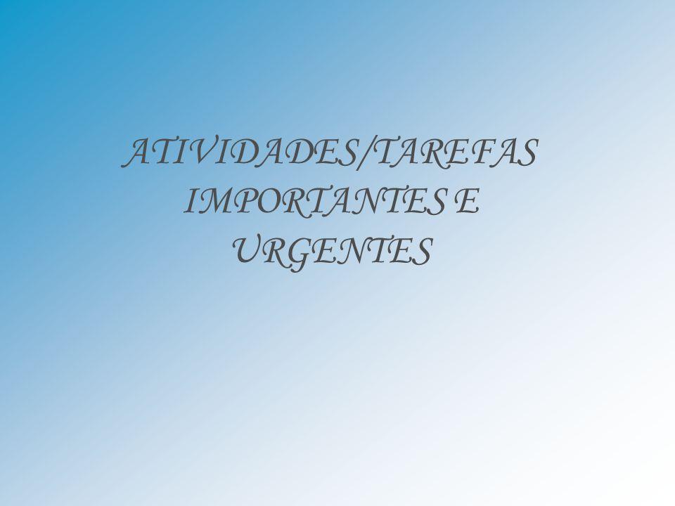 ATIVIDADES/TAREFAS IMPORTANTES E URGENTES