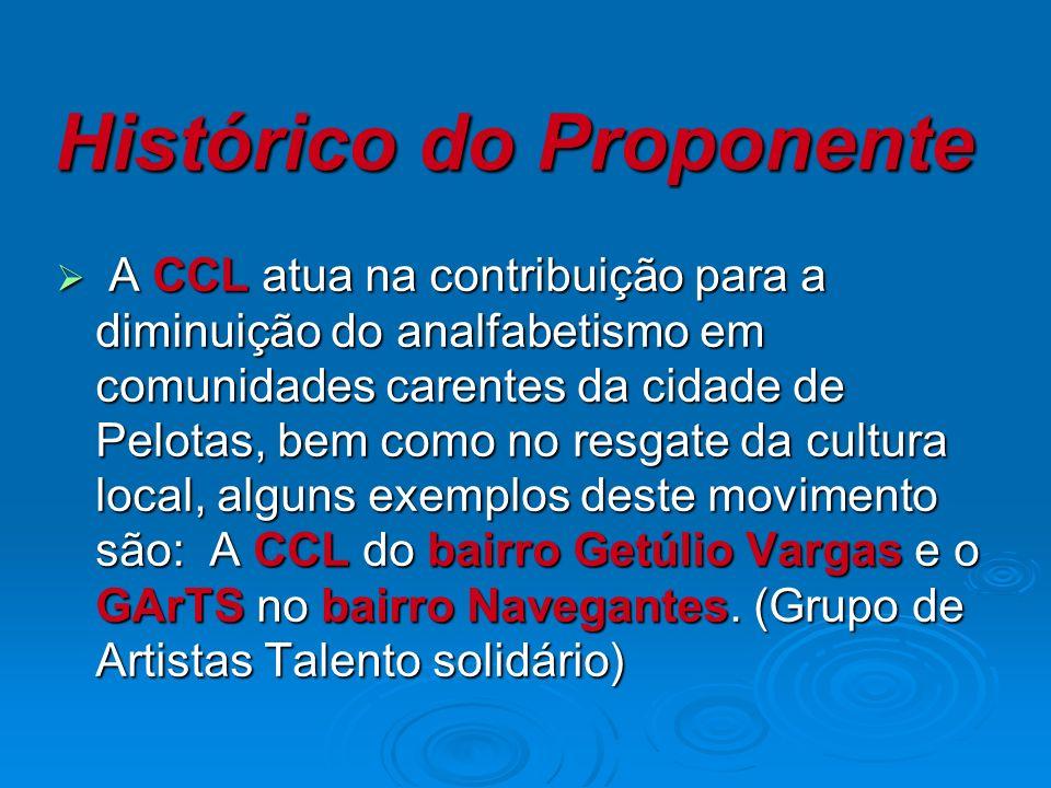 Histórico do Proponente A CCL atua na contribuição para a diminuição do analfabetismo em comunidades carentes da cidade de Pelotas, bem como no resgate da cultura local, alguns exemplos deste movimento são: A CCL do bairro Getúlio Vargas e o GArTS no bairro Navegantes.