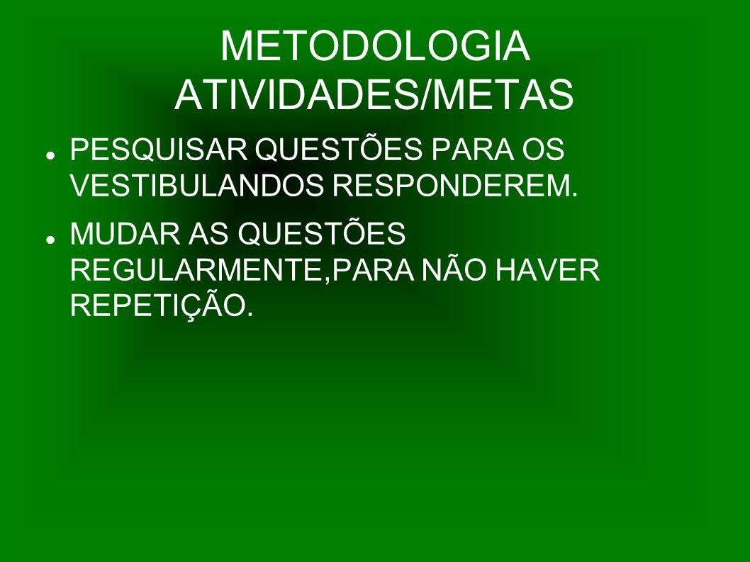 METODOLOGIA ATIVIDADES/METAS PESQUISAR QUESTÕES PARA OS VESTIBULANDOS RESPONDEREM. MUDAR AS QUESTÕES REGULARMENTE,PARA NÃO HAVER REPETIÇÃO.