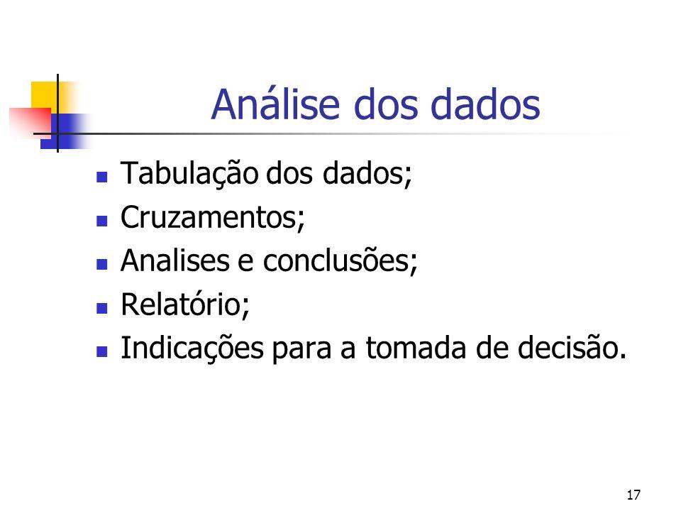 17 Análise dos dados Tabulação dos dados; Cruzamentos; Analises e conclusões; Relatório; Indicações para a tomada de decisão.