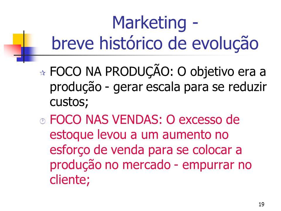19 Marketing - breve histórico de evolução ¶ FOCO NA PRODUÇÃO: O objetivo era a produção - gerar escala para se reduzir custos; · FOCO NAS VENDAS: O e