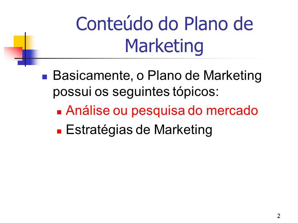2 Conteúdo do Plano de Marketing Basicamente, o Plano de Marketing possui os seguintes tópicos: Análise ou pesquisa do mercado Estratégias de Marketin