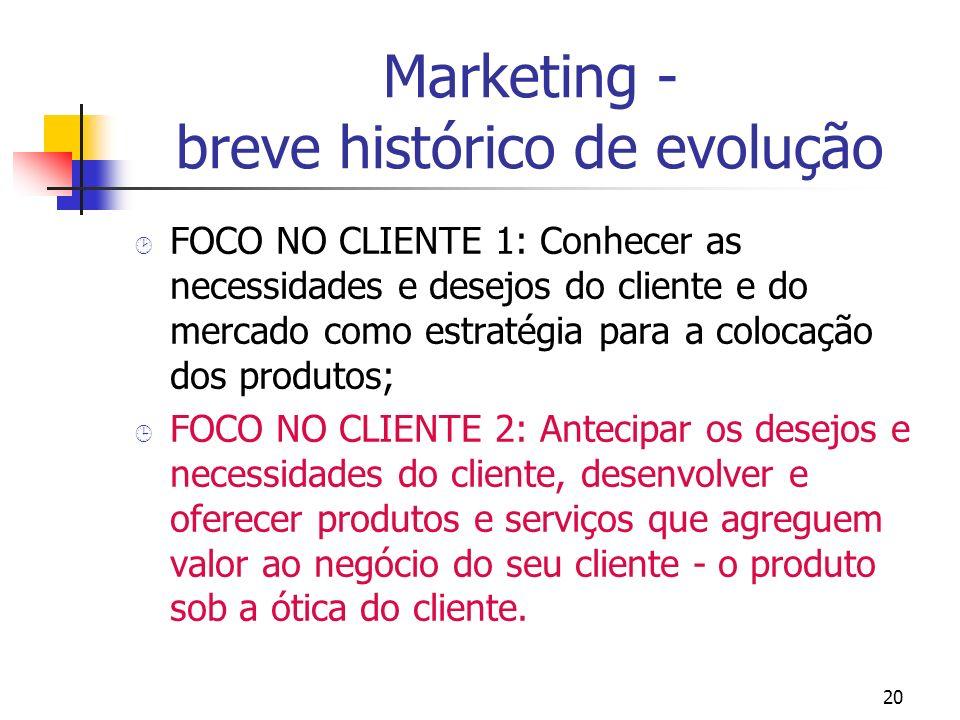 20 Marketing - breve histórico de evolução ¸ FOCO NO CLIENTE 1: Conhecer as necessidades e desejos do cliente e do mercado como estratégia para a colo