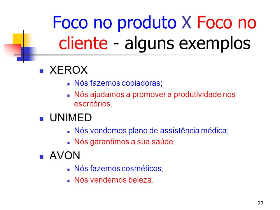 22 Foco no produto X Foco no cliente - alguns exemplos XEROX Nós fazemos copiadoras; Nós ajudamos a promover a produtividade nos escritórios. UNIMED N