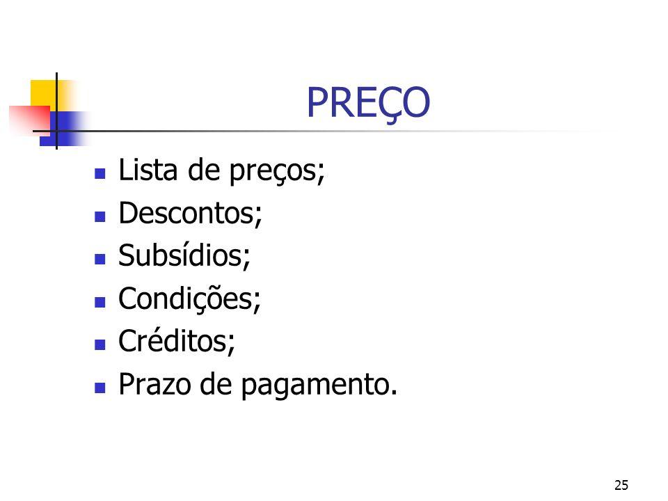 25 PREÇO Lista de preços; Descontos; Subsídios; Condições; Créditos; Prazo de pagamento.