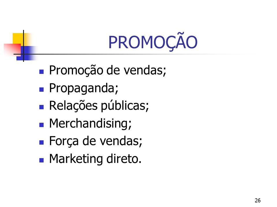 26 PROMOÇÃO Promoção de vendas; Propaganda; Relações públicas; Merchandising; Força de vendas; Marketing direto.