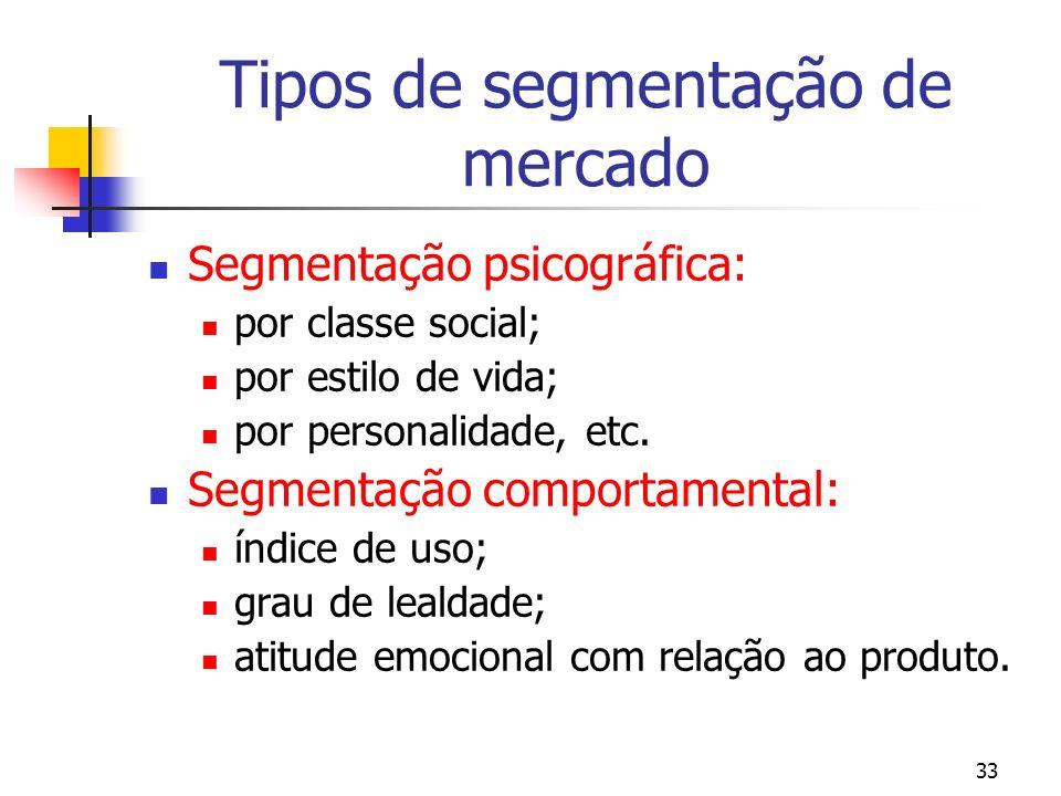 33 Tipos de segmentação de mercado Segmentação psicográfica: por classe social; por estilo de vida; por personalidade, etc. Segmentação comportamental