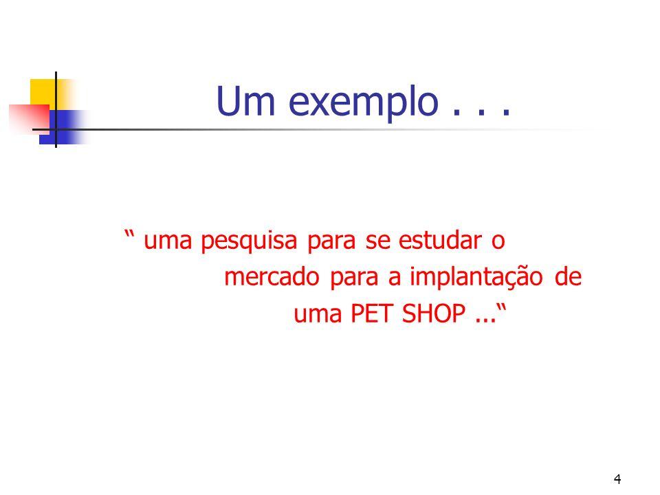 4 Um exemplo... uma pesquisa para se estudar o mercado para a implantação de uma PET SHOP...