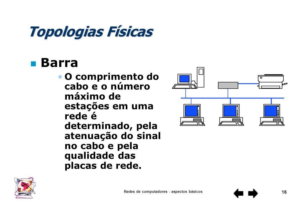 Redes de computadores - aspectos básicos 15 Topologias Físicas n Barra Todas as estações são ligadas em paralelo ao cabo Um pedaço do circuito em curt