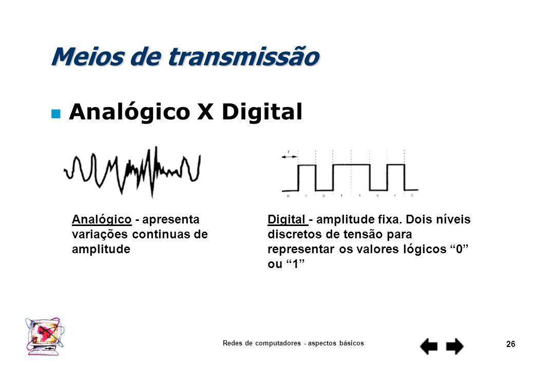 Redes de computadores - aspectos básicos 25 Meios de transmissão n Analógico X Digital n Cabo coaxial n Par Trançado n Fibra ótica n Radiofusão n Back