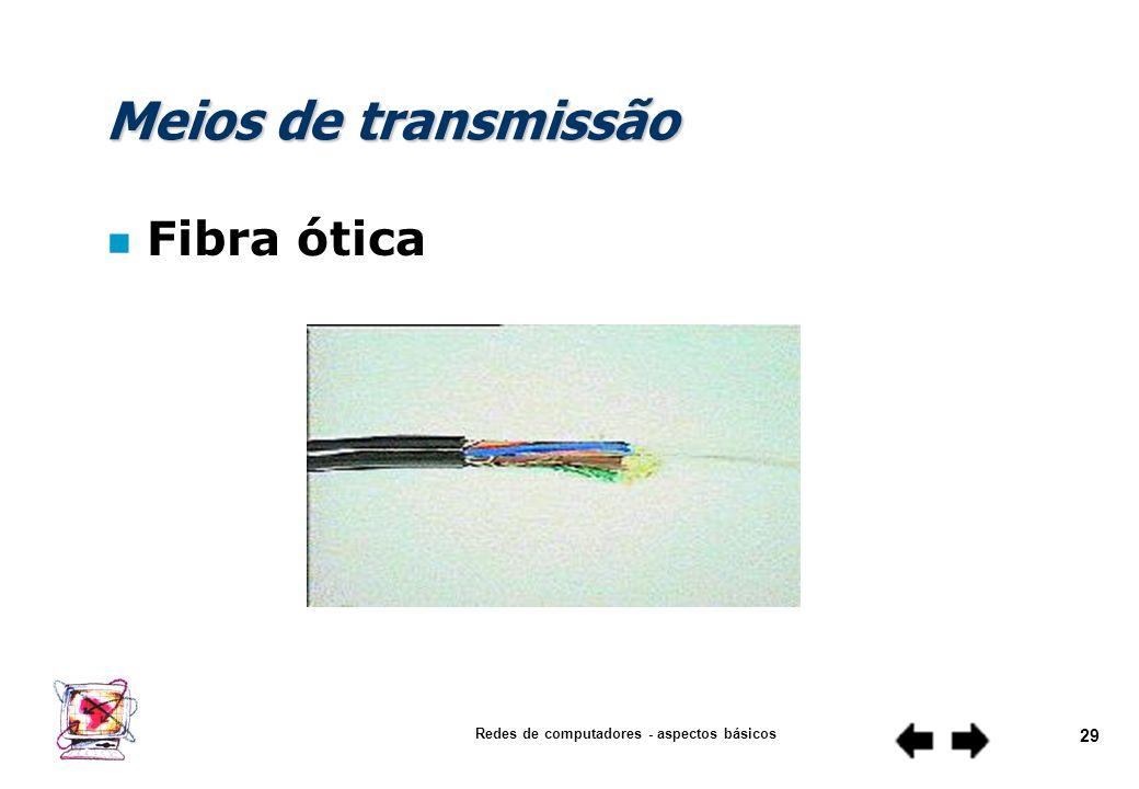 Redes de computadores - aspectos básicos 28 Meios de transmissão n Par trançado