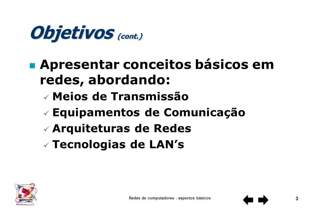 Redes de computadores - aspectos básicos 2 Objetivos n Apresentar conceitos básicos em redes, abordando: Contexto Atual Definição Distribuição Geográf