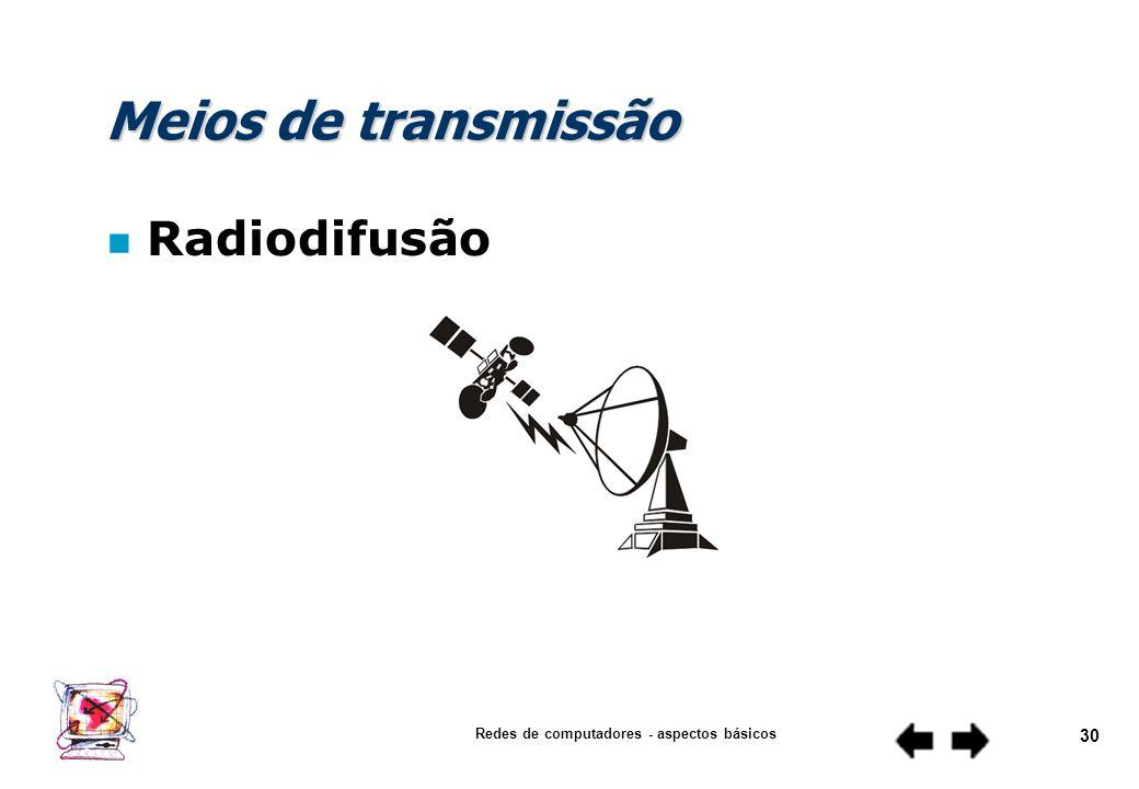 Redes de computadores - aspectos básicos 29 Meios de transmissão n Fibra ótica