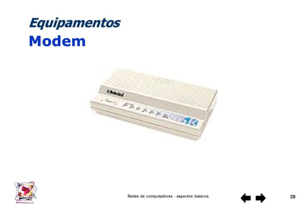 Redes de computadores - aspectos básicos 38 Equipamentos Repetidor