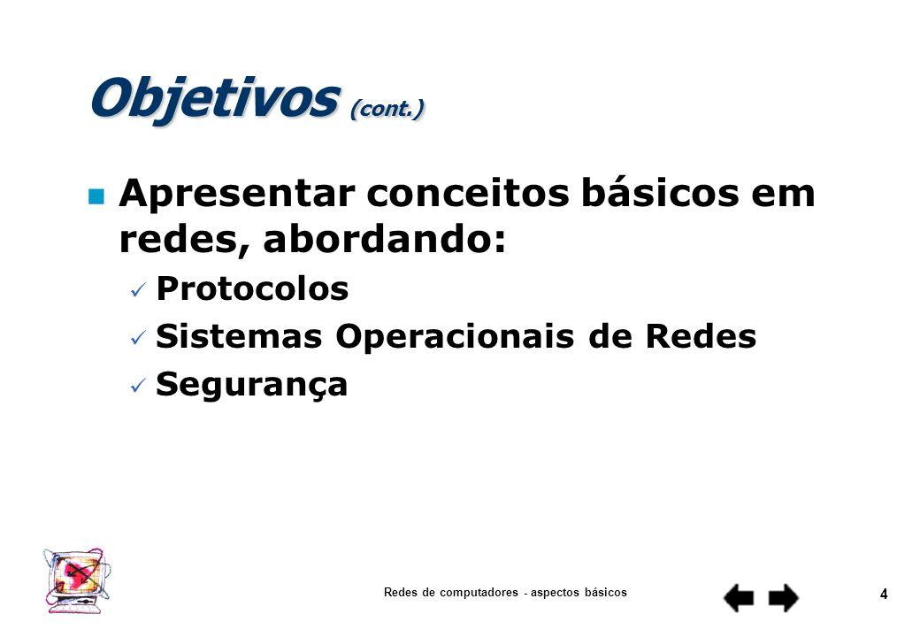 Redes de computadores - aspectos básicos 3 Objetivos (cont.) n Apresentar conceitos básicos em redes, abordando: Meios de Transmissão Equipamentos de