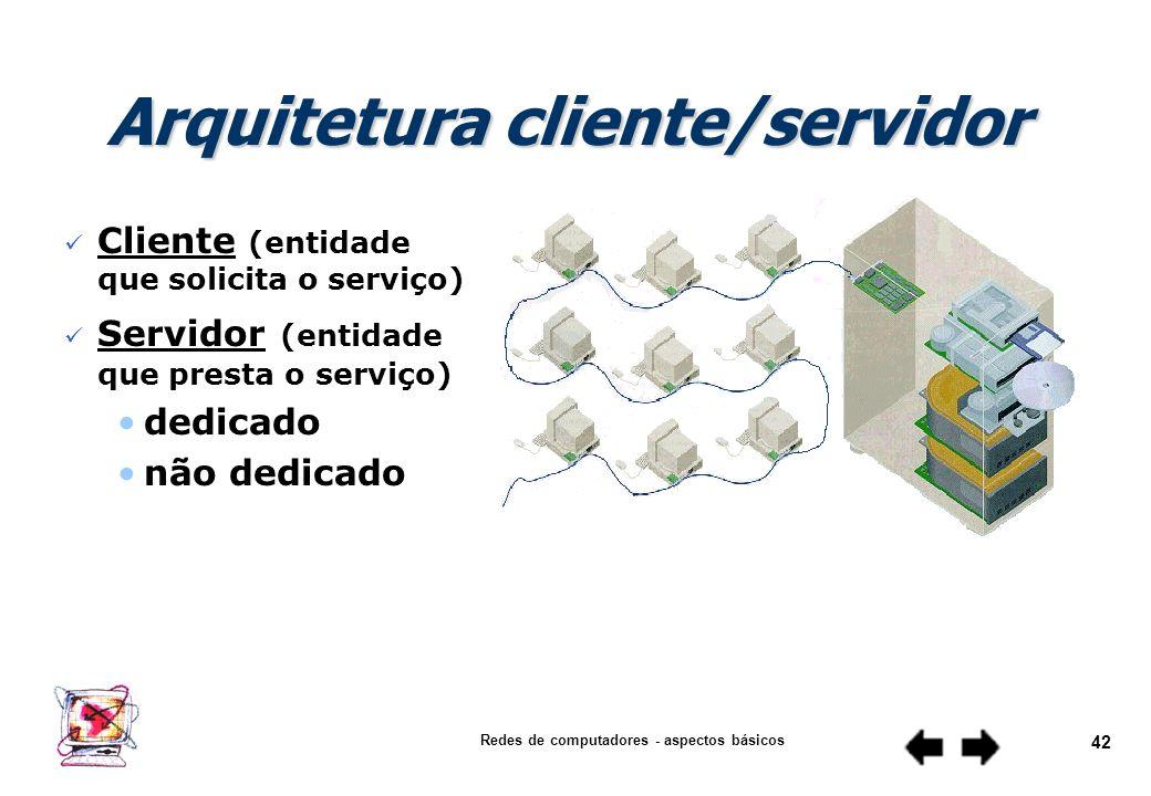 Redes de computadores - aspectos básicos 41 n Estrutura que inclui o hardware, as camadas funcionais, as interfaces e os protocolos usados para estabe