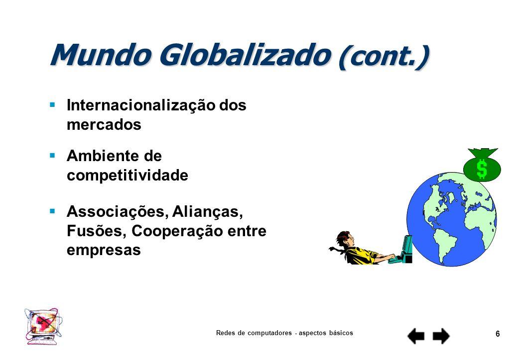Redes de computadores - aspectos básicos 5 Mundo Globalizado Acelerado desenvolvimento tecnológico Expansão acentuada das redes de comunicação Liberal