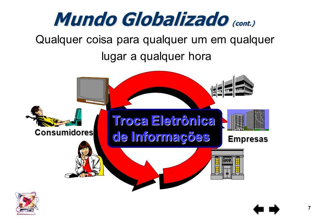 Redes de computadores - aspectos básicos 6 Mundo Globalizado (cont.) Internacionalização dos mercados Associações, Alianças, Fusões, Cooperação entre
