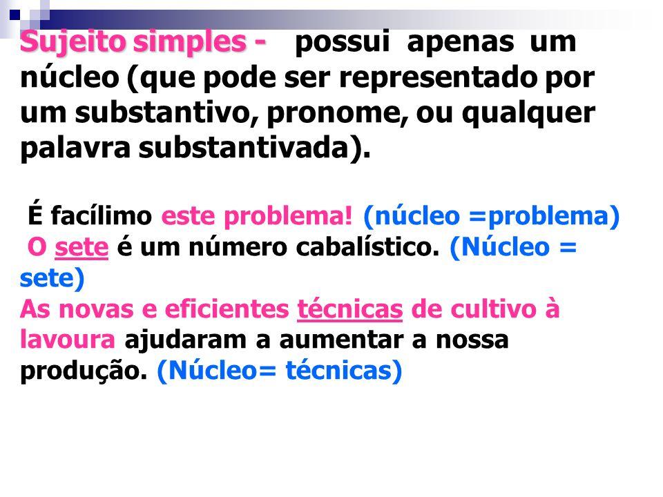 Palavra (ou conjunto de palavras) que concorda com o verbo O SUJEITO O SUJEITO
