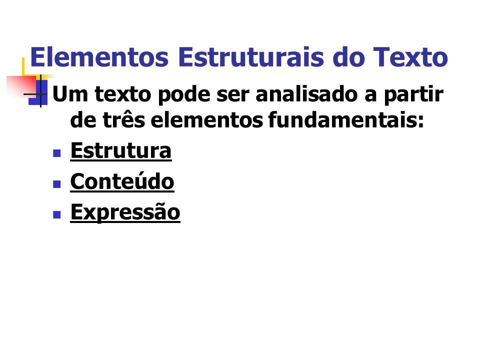 Elementos Estruturais do Texto Um texto pode ser analisado a partir de três elementos fundamentais: Estrutura Conteúdo Expressão