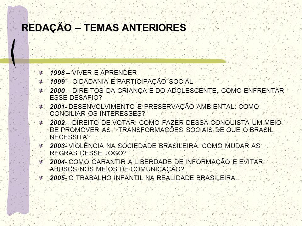 REDAÇÃO – TEMAS ANTERIORES 1998 – VIVER E APRENDER 1999 - CIDADANIA E PARTICIPAÇÃO SOCIAL 2000 - DIREITOS DA CRIANÇA E DO ADOLESCENTE, COMO ENFRENTAR