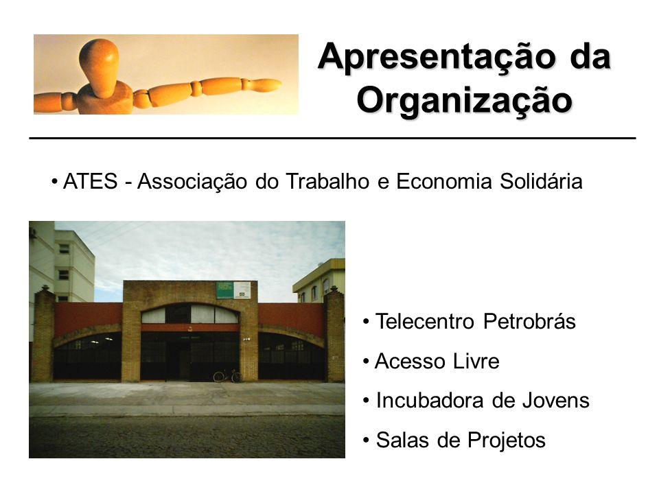 Apresentação da Organização ATES - Associação do Trabalho e Economia Solidária Telecentro Petrobrás Acesso Livre Incubadora de Jovens Salas de Projetos