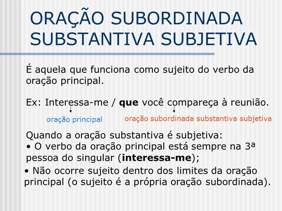 CLASSIFICAÇÃO SUBORD. SUBSTANTIVA Orações subordinadas substantivas ligadas ao verbo da oração principal. Se uma oração subordinada substantiva vem li