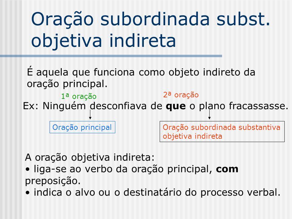 Oração subordinada substantiva objetiva direta É aquela que funciona como objeto direto do verbo da oração principal. Eles não permitem / que os índio