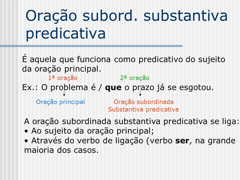 Se uma oração subordinada substantiva vem ligada a um nome da oração principal, pode, teoricamente, funcionar como: Predicativo do sujeito......