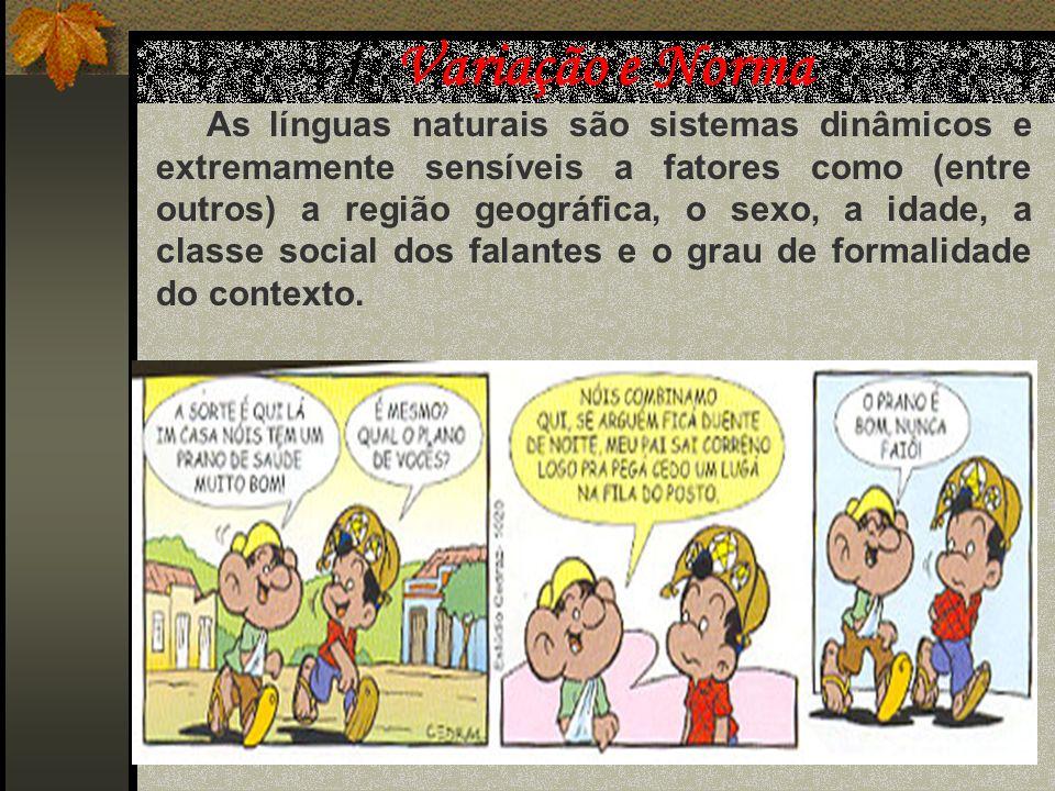Variedade Lingüística do nosso português 1. Variação e norma; 2.Variedades do Português: 2.1 Variedades geográficas; 2.2 Variedades sócio-culturais; 2