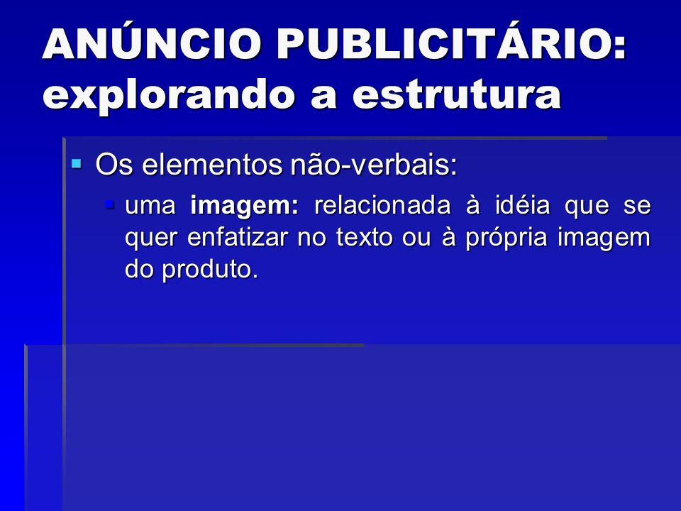 ANÚNCIO PUBLICITÁRIO: explorando a estrutura Os elementos não-verbais: Os elementos não-verbais: uma imagem: relacionada à idéia que se quer enfatizar