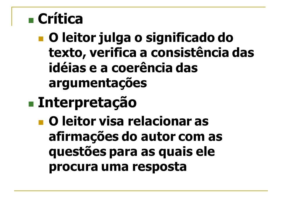 Crítica O leitor julga o significado do texto, verifica a consistência das idéias e a coerência das argumentações Interpretação O leitor visa relacion