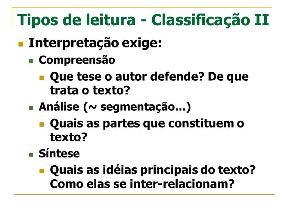 Tipos de leitura - Classificação II Interpretação exige: Compreensão Que tese o autor defende? De que trata o texto? Análise (~ segmentação…) Quais as