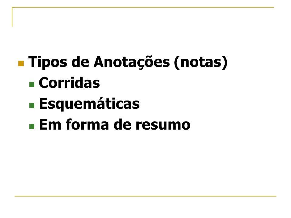 Tipos de Anotações (notas) Corridas Esquemáticas Em forma de resumo