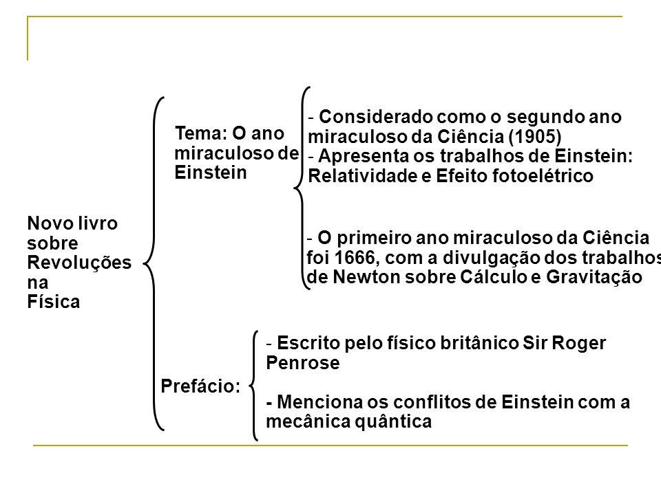 Novo livro sobre Revoluções na Física Tema: O ano miraculoso de Einstein Prefácio: - Escrito pelo físico britânico Sir Roger Penrose - Menciona os con