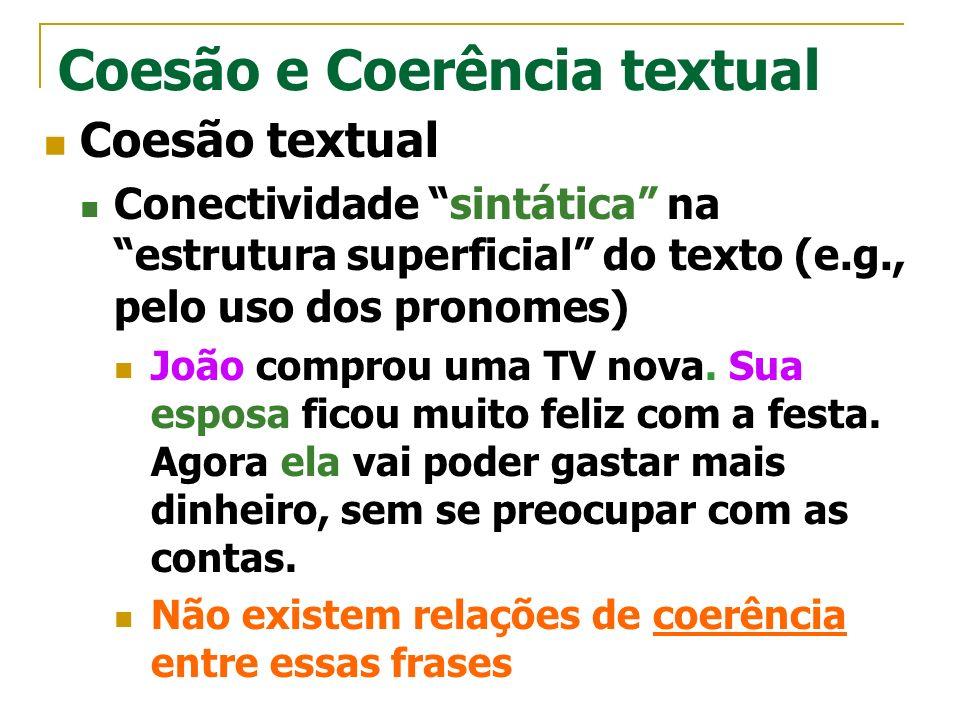 Coesão e Coerência textual Coesão textual Conectividade sintática na estrutura superficial do texto (e.g., pelo uso dos pronomes) João comprou uma TV