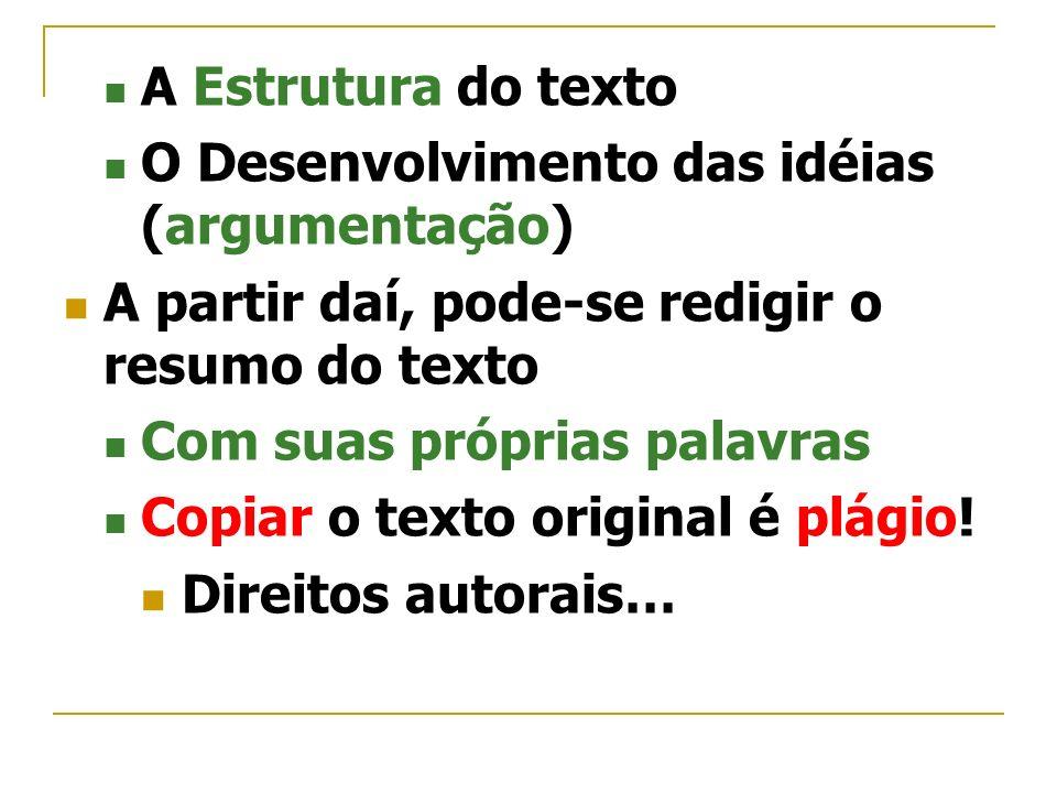 A Estrutura do texto O Desenvolvimento das idéias (argumentação) A partir daí, pode-se redigir o resumo do texto Com suas próprias palavras Copiar o t
