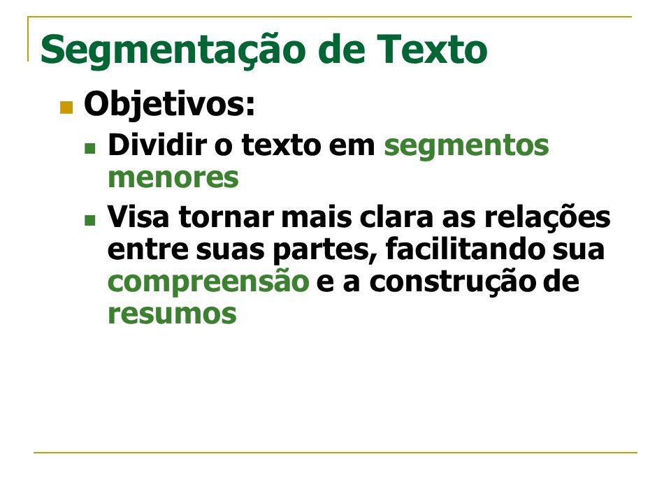 Segmentação de Texto Objetivos: Dividir o texto em segmentos menores Visa tornar mais clara as relações entre suas partes, facilitando sua compreensão