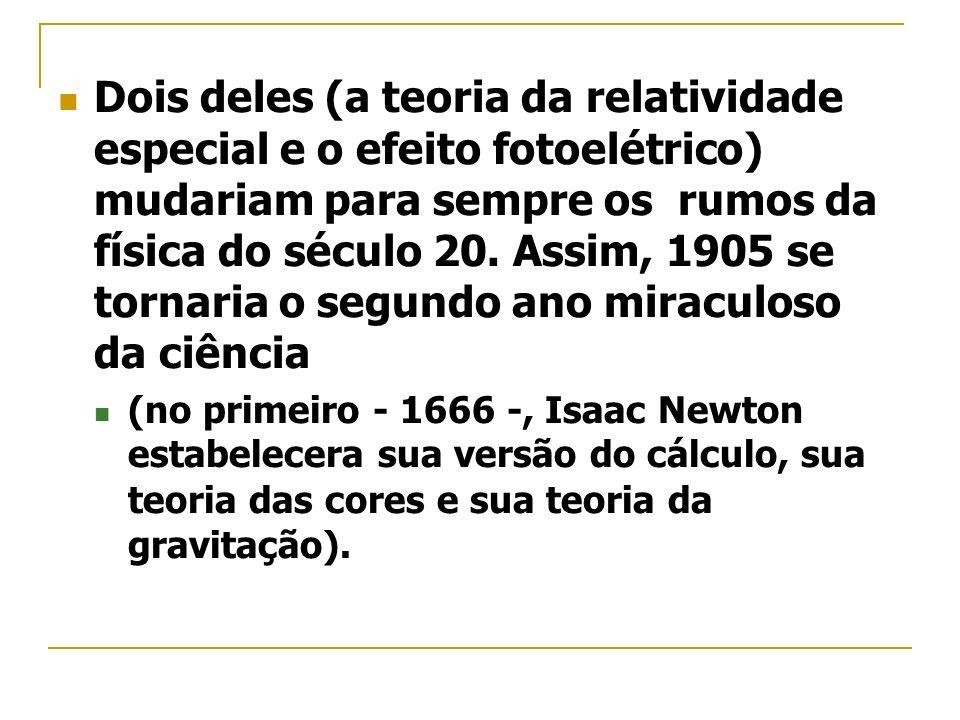 Dois deles (a teoria da relatividade especial e o efeito fotoelétrico) mudariam para sempre os rumos da física do século 20. Assim, 1905 se tornaria o