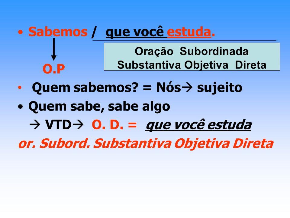 ORAÇÕES SUBORDINADAS SUBSTANTIVAS Introduzidas pela conjunção integrante: que / se; Exercem uma função sintática; Desenvolvidas (com a conjunção integrante que / se) Convém que façamos nossos deveres.