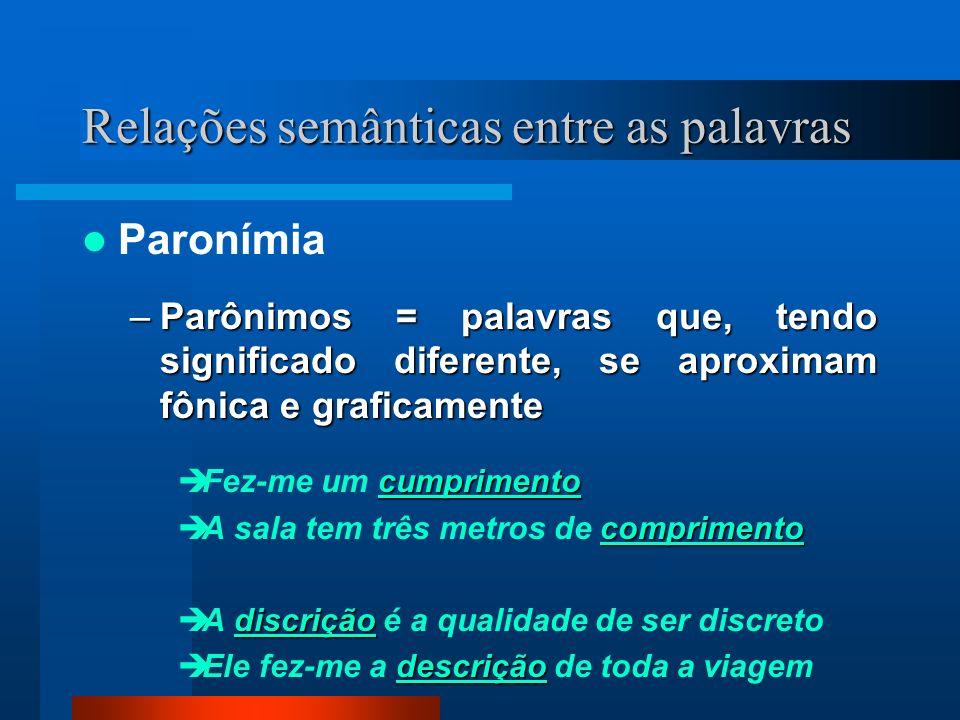 Relações semânticas entre as palavras Paronímia –Parônimos = palavras que, tendo significado diferente, se aproximam fônica e graficamente cumprimento