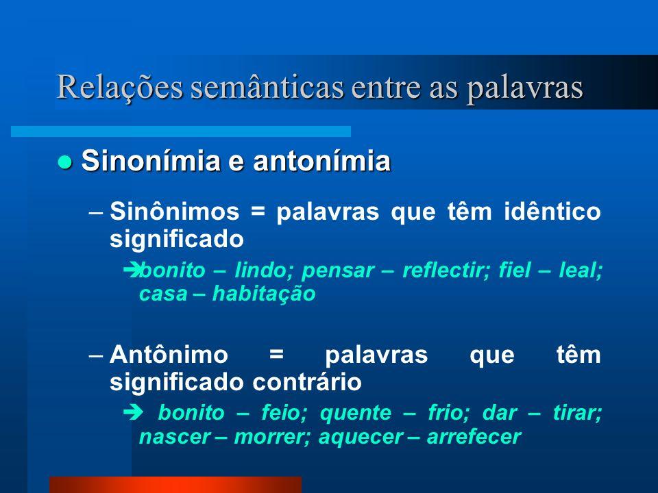 Relações semânticas entre as palavras Homonímia Homonímia –Homônimos = palavras que apresentam a mesma grafia e pronúncia, mas diferente significado vale O vale de Santarém é lindo.