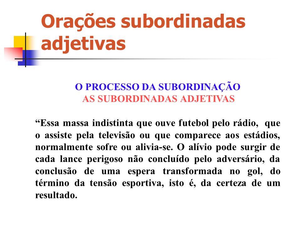 PERÍODO COMPOSTO POR SUBORDINAÇÃO Orações subordinadas adjetivas Prof. Jeswesley Mendes