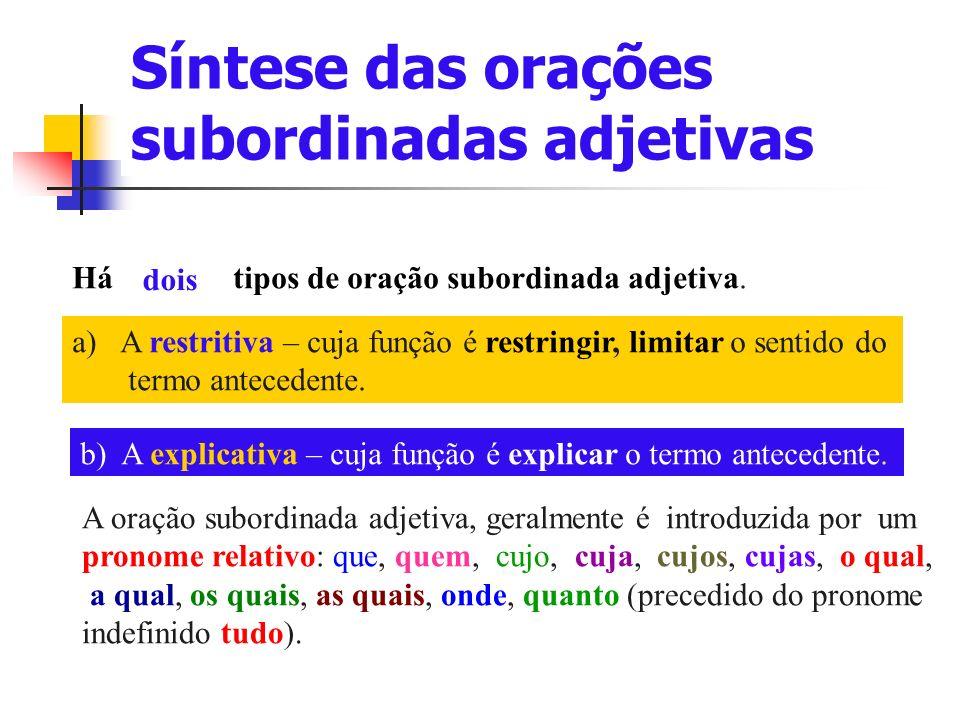 Síntese das orações subordinadas adjetivas Há tipos de oração subordinada adjetiva.